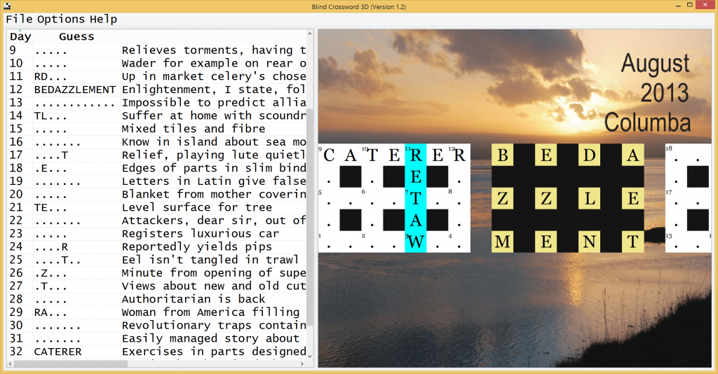Blind Crossword 3D screenshot